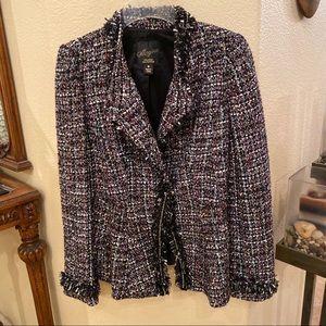 MCGINN Tweed Asymmetrical Peplum Jacket Size 6